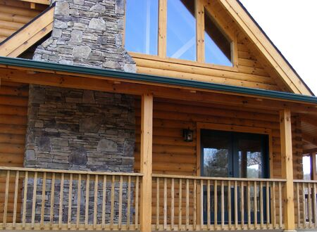 masonary: Front Of Log Cabin Stock Photo