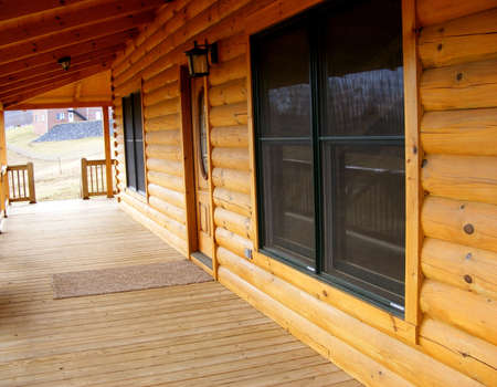 Front Porch Of Log Home
