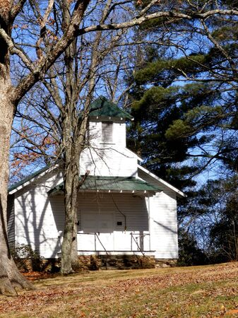 country church: Old White Country Church Stock Photo