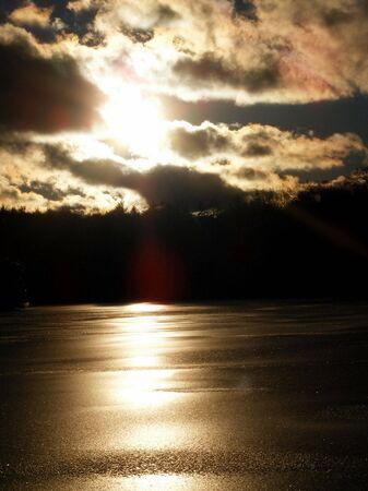 frozen lake: Sunset Over Bevroren Lake