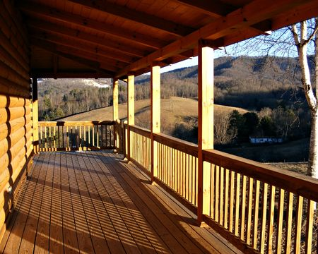 wooden beams: New Log Home Deck