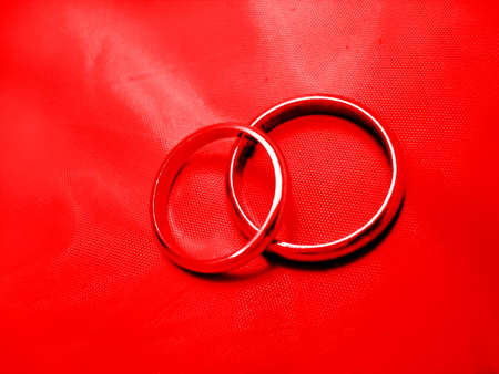 Abstract Red Wedding Rings photo