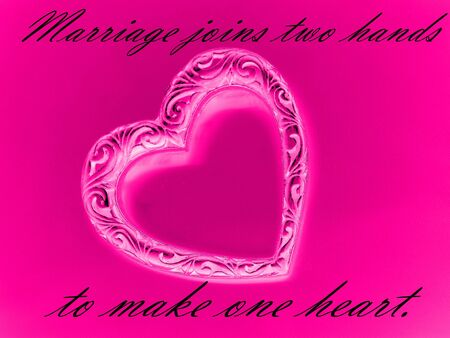 Marriage joins ... saying with heart on pink