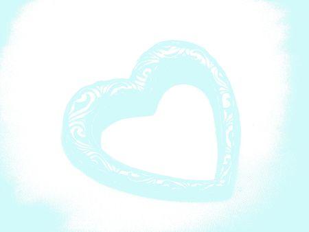 Aqua Blue Heart Abstract