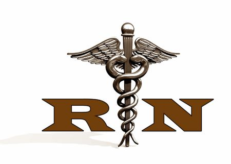 registered: RN With Caduceus Stock Photo
