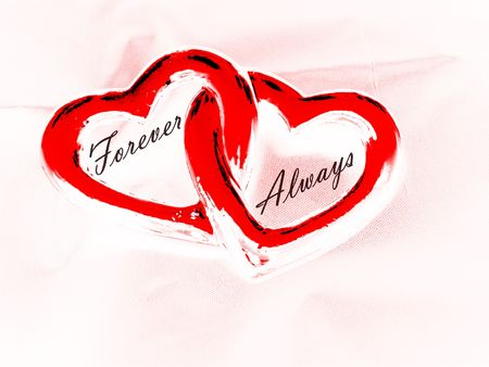 always: Two Hearts With Words Forever and Always Stock Photo