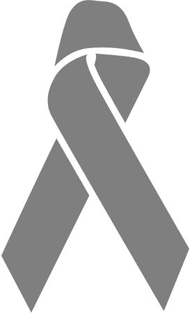 Dark Gray Awareness Ribbon - Lung Cancer/Disease, Mental Illness, MS, Parkinson's Disease, Allergies, Asthma, Brain Cancer/Tumor, Diabetes, Disabled Children, Emphysema Stock Photo - 2547727
