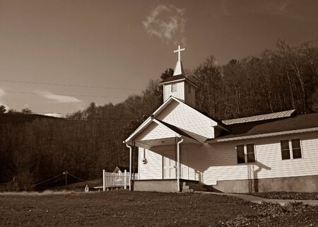 White Country church In field photo