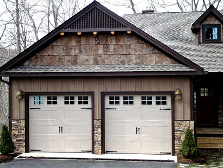 windows and doors: Double Garage Doors On Modern Home