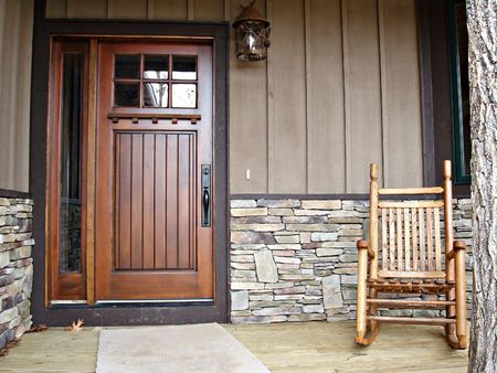 front door: Country Home Welcoming Front Deck
