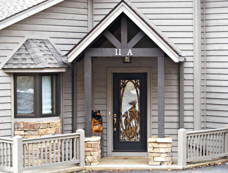 Oramental Front Entrance Of Modern Home Stock Photo