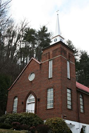 Front Of Vintage Brick Church photo