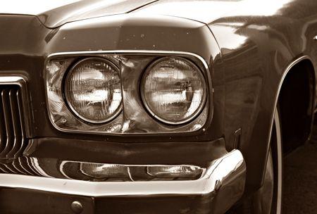 ビンテージ車のヘッドライト 写真素材