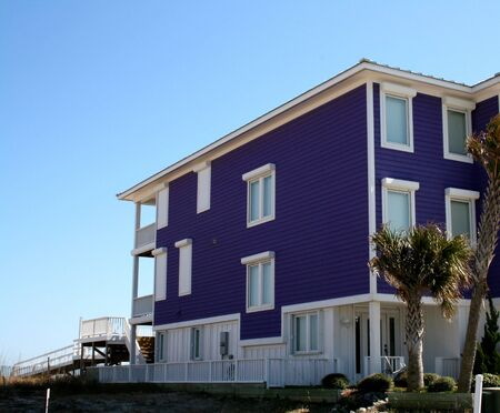 Purple Ocean Front Home Stock Photo