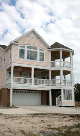 constructed: Newly Constructed Beach Home Stock Photo