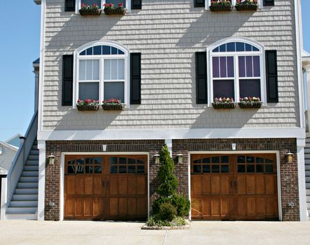 Beach Home With Double Garage Doors