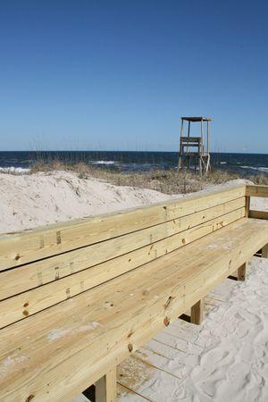 Beach Front Bench Imagens - 2640631