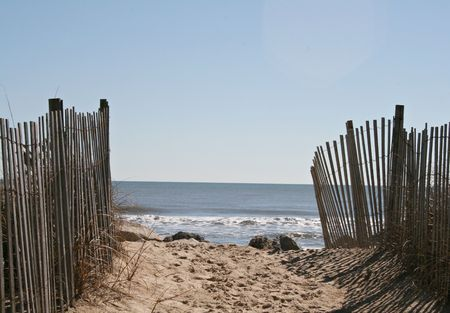Beach Path Sunny Day - Horizonal Stock Photo - 2644650