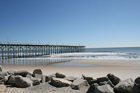 Carolina Beach Pier Scene Stock Photo