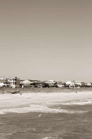 landsape: Shoreline Homes In Sepia