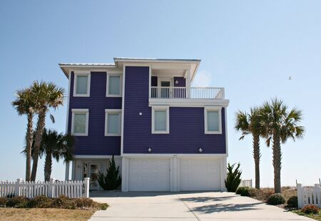Purple Beach Front Home Stock Photo - 2656166
