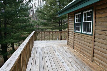 log deck: Log Cabin Deck Stock Photo