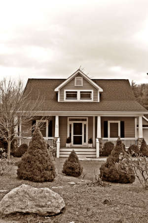 Home With Landscaping - Sepia Stock Photo - 2766260