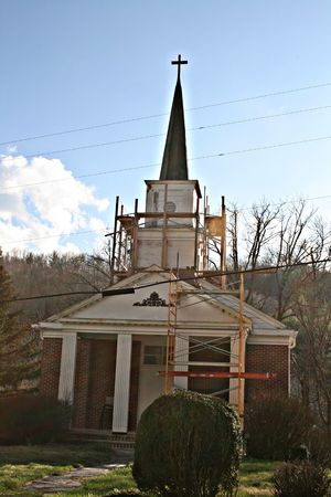 renovated: Church Steeple Being Renovated Stock Photo