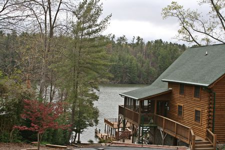 Log Home On Lake