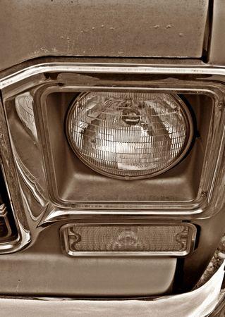 ビンテージ トラック丸いヘッドライト 写真素材