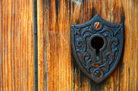 close up image: A close up image of a antique lock. Stock Photo