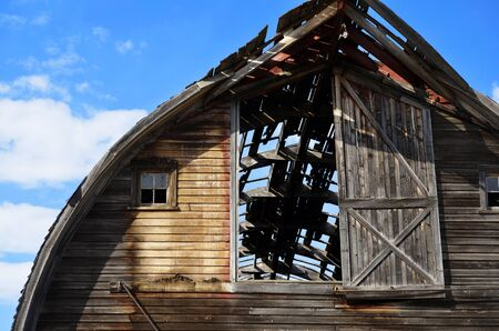 run down: An abstract image of the roof of an old run down barn. Stock Photo