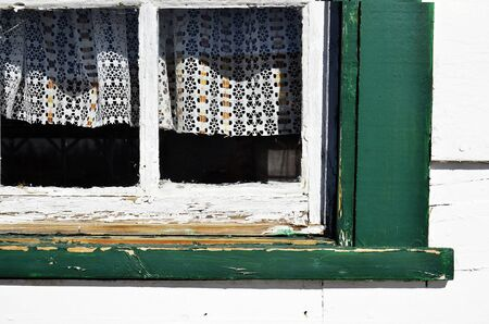 disrepair: An image of an old window in disrepair. Stock Photo