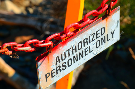 A side view image of an Authorized Personnel Only sign. Stock Photo