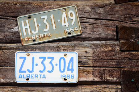 licence: An image of old rusted vintage licence plates on a log wall. Stock Photo