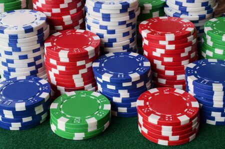 An abstract image of stacked poker chips. Stock Photo