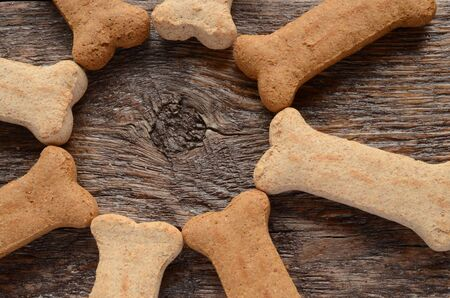 large dog: A top view image of large bone shaped dog treats in a circle.