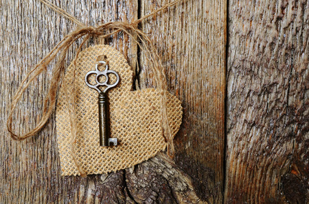 Hanging Canvas Heart with Antique Key