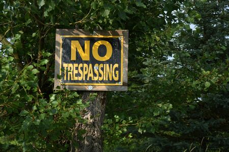 Old No Trespassing Sign Stock Photo