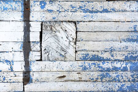 white wood floor: Old Blue and White Painted Wall