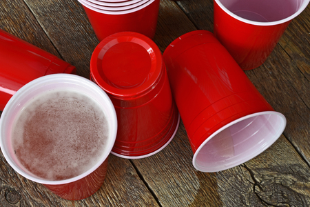 Spilled Beer Pong Cup Archivio Fotografico