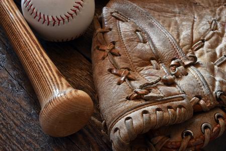 Old Used Baseball Equipment Close Up