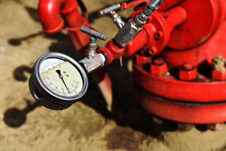 Industrial Pressure Gauge Close Up