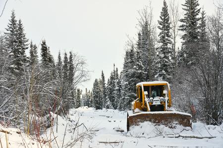 Industrial Bulldozer in Winter