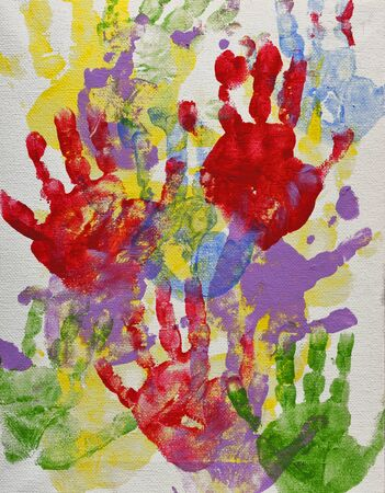 Painted Childrens Hand Prints Stok Fotoğraf