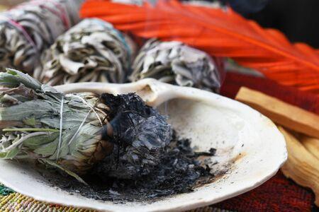 Burning Sage Bundle Close Up Stock Photo