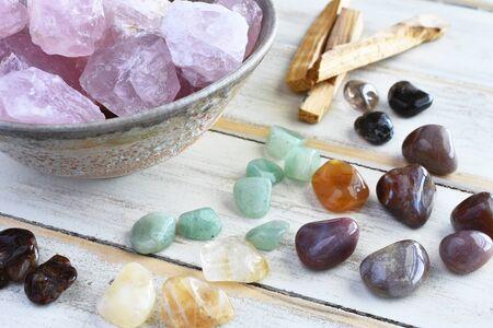 Rose Quartz and Green Aventurine Crystals. Stock Photo
