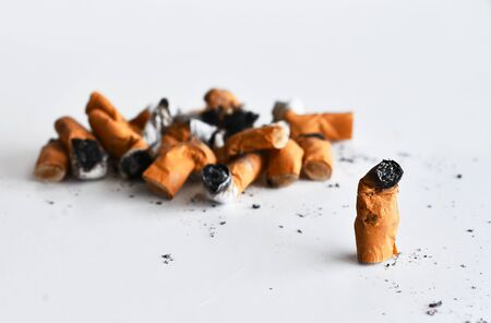 Cigarette Butts Close Up Stock Photo