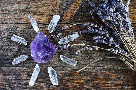 Amethyst and Clear Quartz Crystals Stock Photo