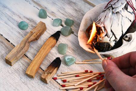 Burning White Sage Close Up